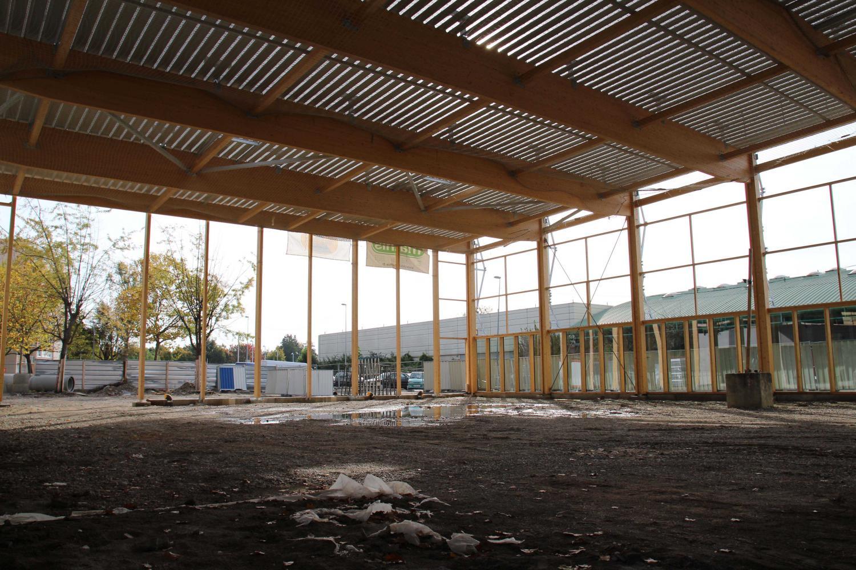 Nouveau gymnase, vu de l'intérieur, maille Jacqueline.