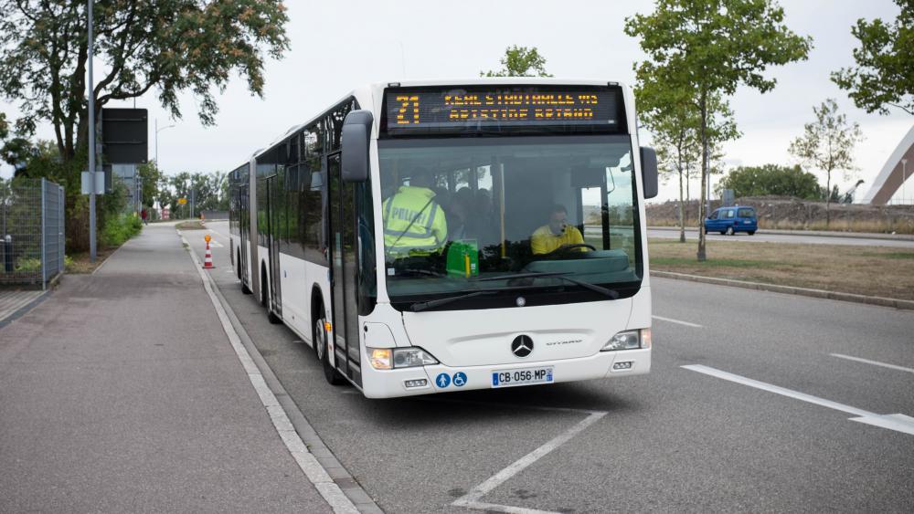 Le bus 21 de la Compagnie des Transports Strasbourgeois est la cible des contrôles de la police allemande.